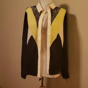 Mustard Seed black/lime/white lace blouse. Sz M